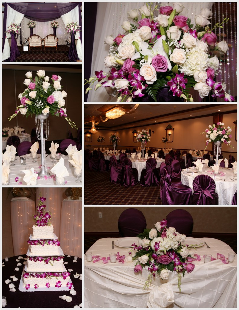 A Purple And White Wedding Reception