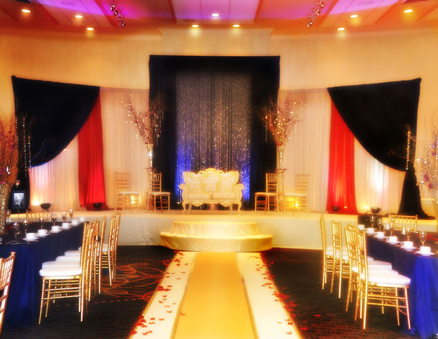 Red Blue and white colors with Crystals Stage Design Professional Party