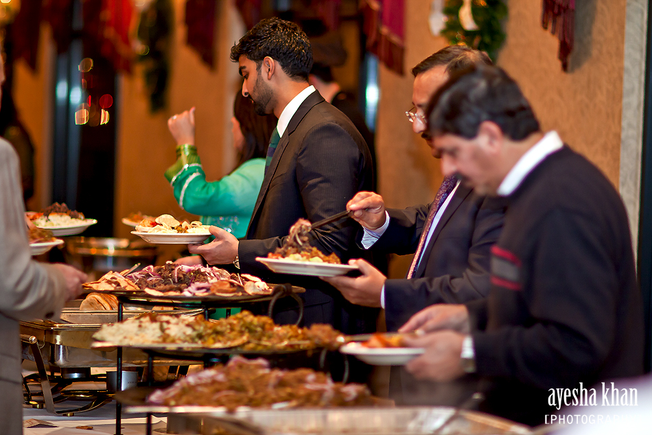 The Buffet Line at Sana and Shahzebs rukhsati wedding reception The Muslim Bride The Muslim Bride Special Wedding Feature: Sana and Shahzebs Wedding Reception