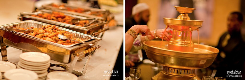 The hors doeuvres appetizers at Sana and Shahzebs rukhsati wedding reception The Muslim Bride 1024x334 The Muslim Bride Special Wedding Feature: Sana and Shahzebs Wedding Reception