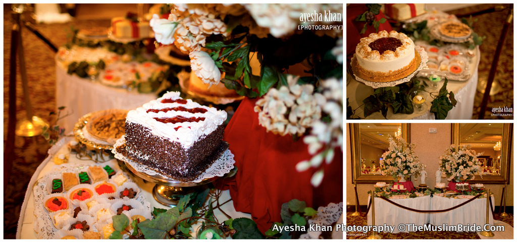 Dessert table at Sana and Shahzebs rukhsati wedding reception The Muslim Bride The Muslim Bride Special Wedding Feature: Sana and Shahzebs Wedding Reception