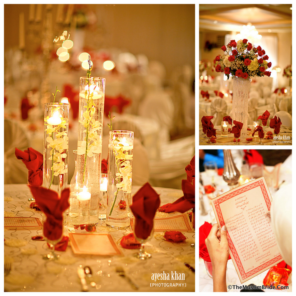 Sana and Shahzeb Rukhsati Reception Centerpiece Decor Collage The Muslim Bride The Muslim Bride Special Wedding Feature: Sana and Shahzebs Wedding Reception