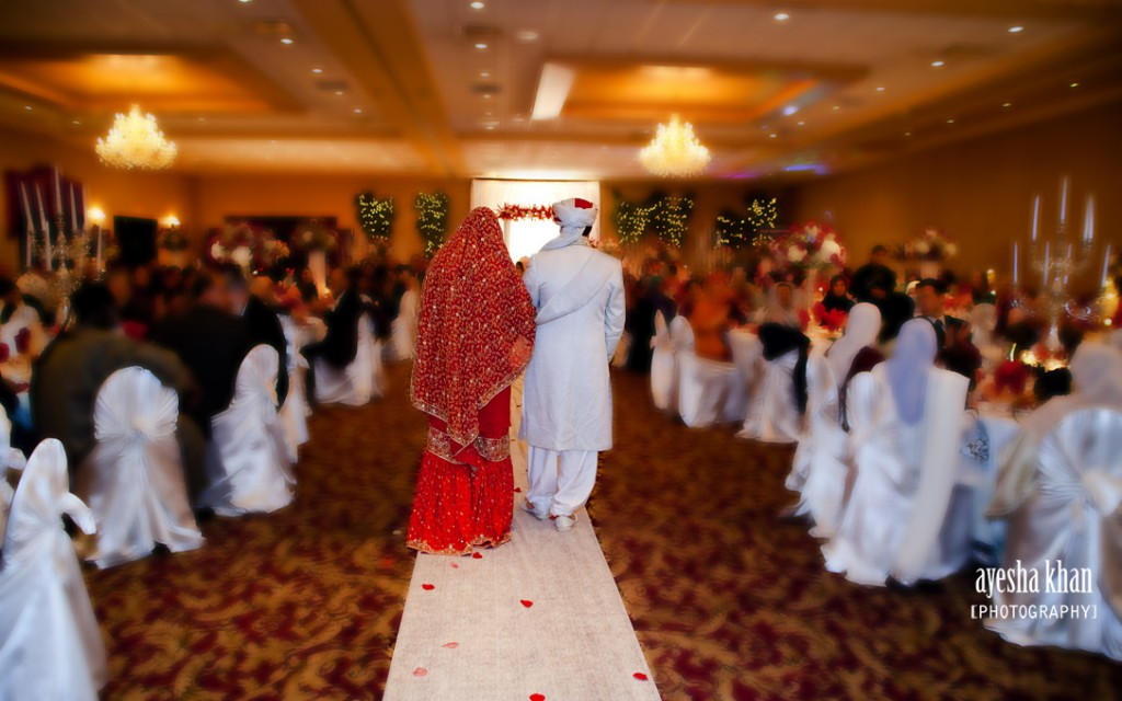Sana and Shahzeb walking down the aisle The Muslim Bride 1024x640 The Muslim Bride Special Wedding Feature: Sana and Shahzebs Wedding Reception