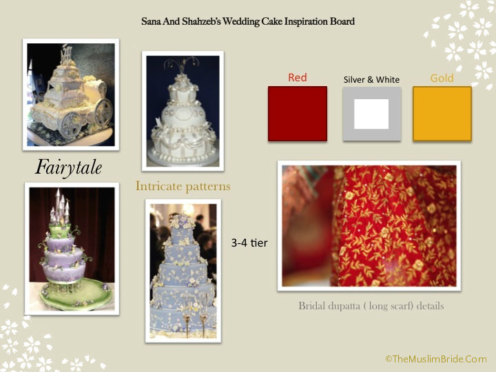 Sana and Shahzeb wedding cake inspiration board The Muslim Bride1 The Muslim Bride Special Wedding Feature: Sana and Shahzebs Wedding Cake