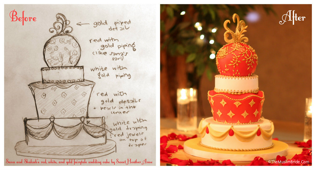 Sana wedding cake before and after The Muslim Bride The Muslim Bride Special Wedding Feature: Sana and Shahzebs Wedding Cake